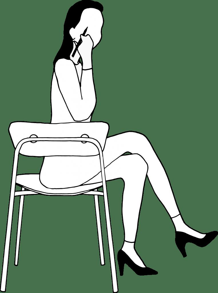 Illustratie vrouw op stoel